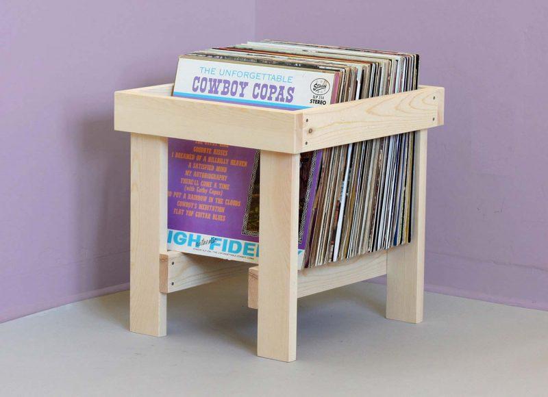 Rack à disques vinyles en bois