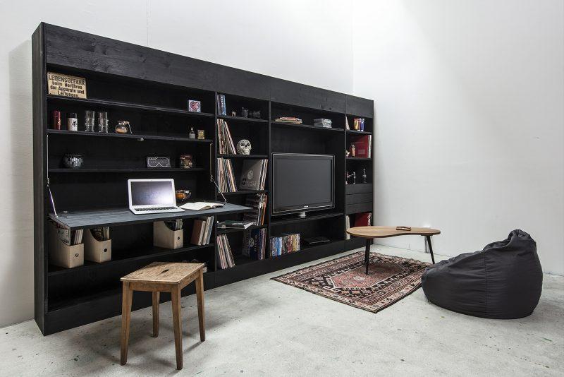 mur biblioth que avec bureau. Black Bedroom Furniture Sets. Home Design Ideas