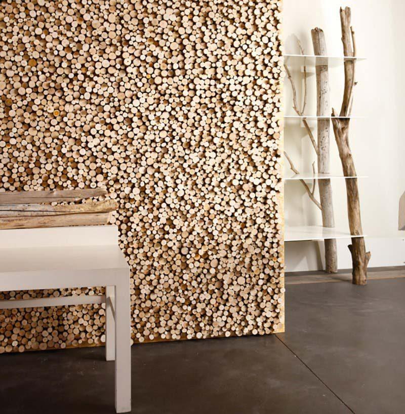 Mur en rondins de bois pour donner un esprit nature déco scandinave