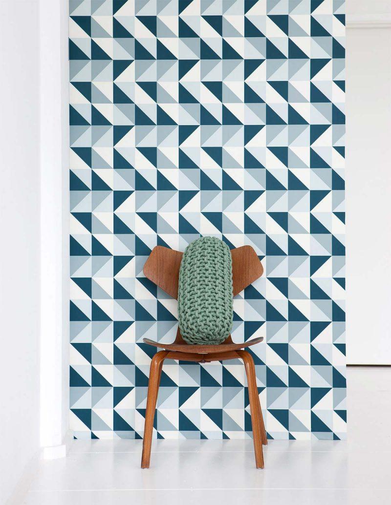 Papier peint déco scandinave à triangles