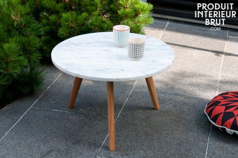 Table basse scandinave en marbre
