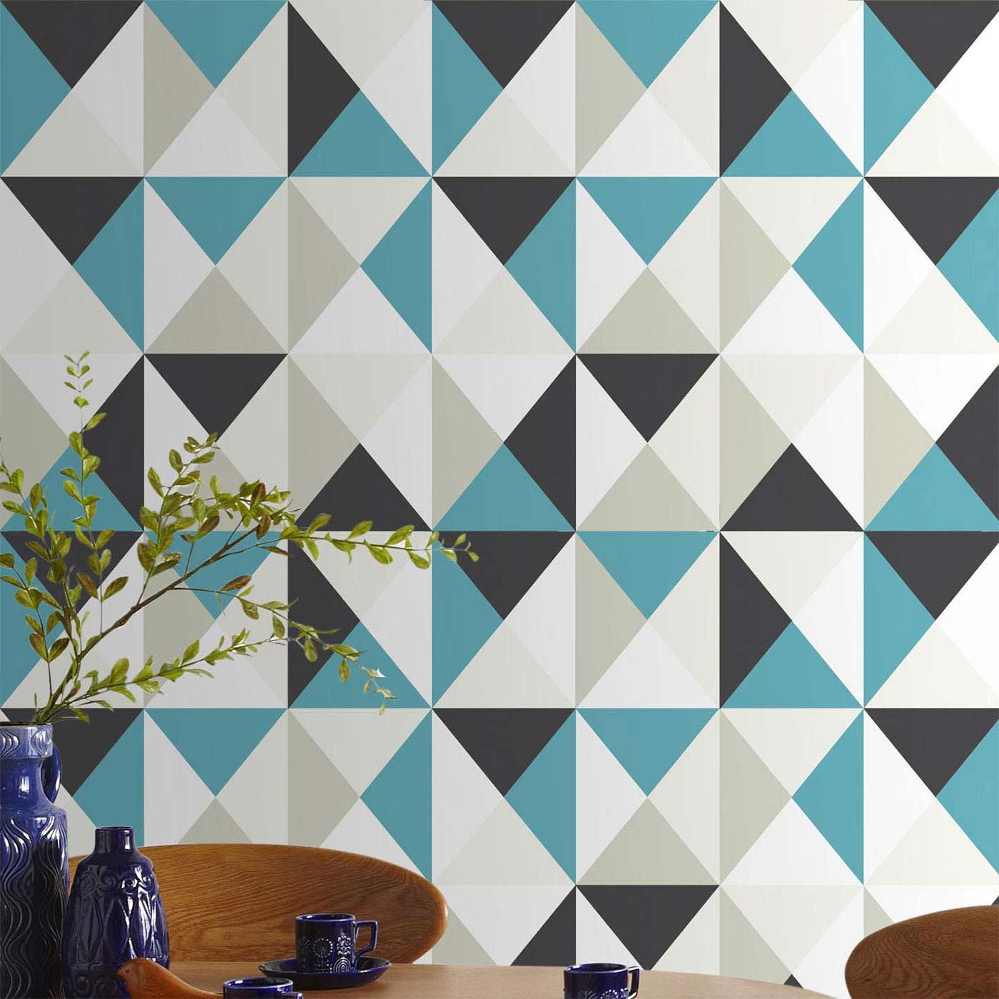 Papier peint triangles d co scandinave - Tapisserie lessivable cuisine ...