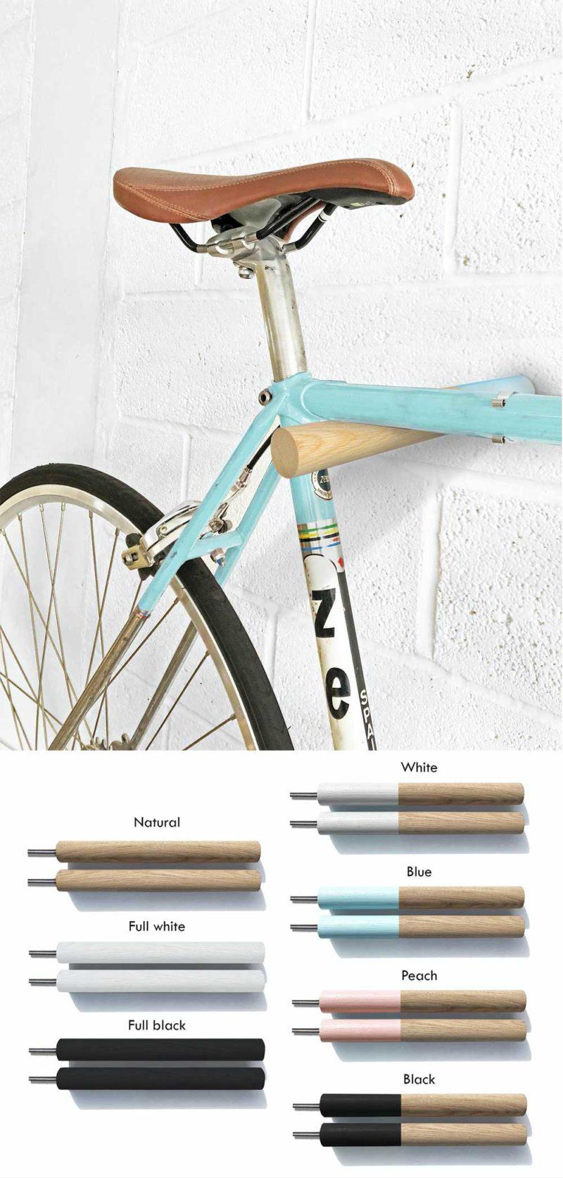Accroche vélo mural en bois