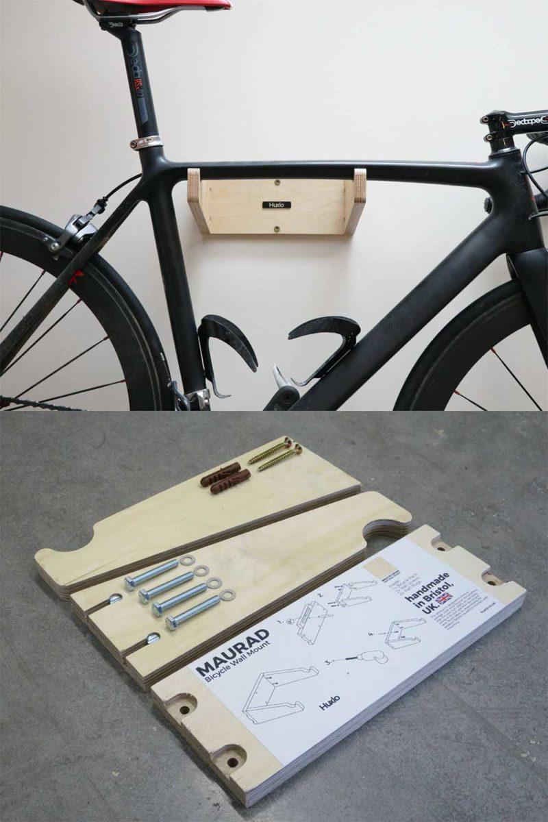 Accroche vélo mural design en contreplaqué