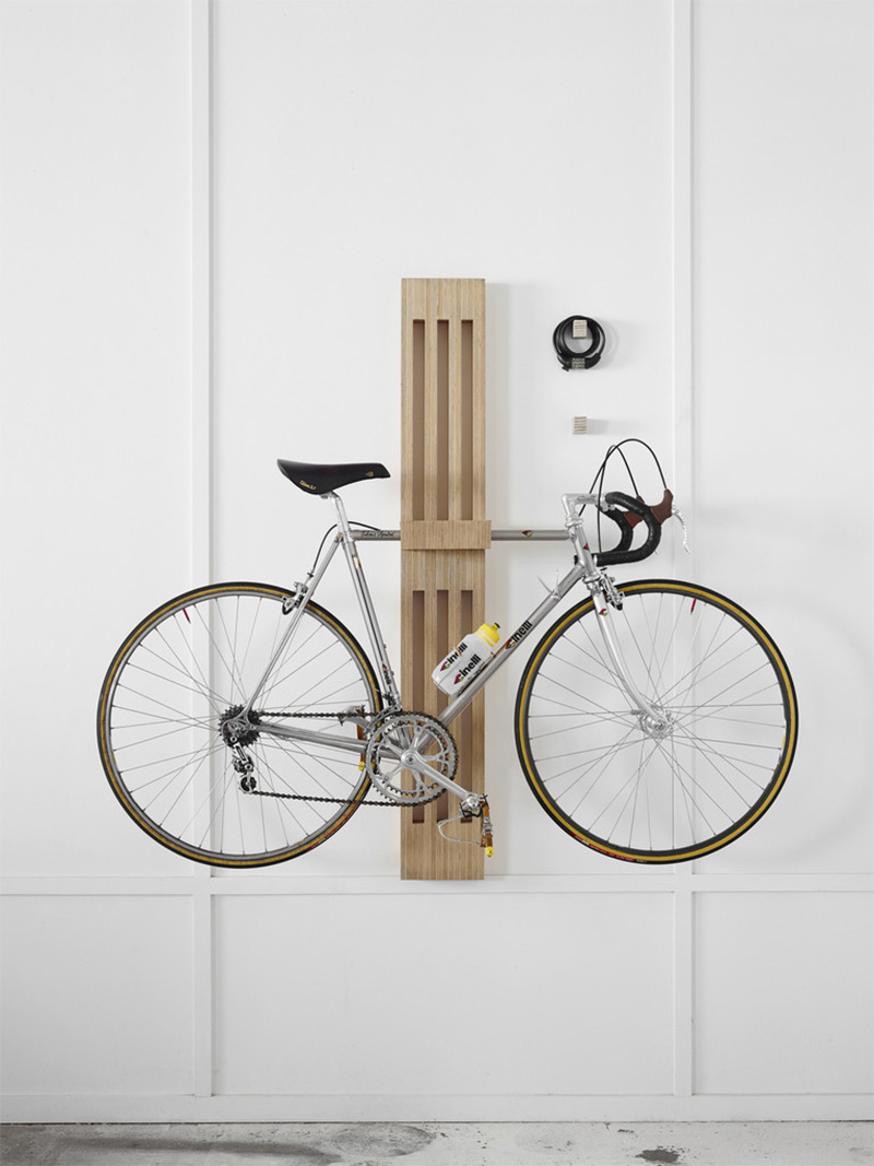 Porte v lo design en bois for Meuble porte velo