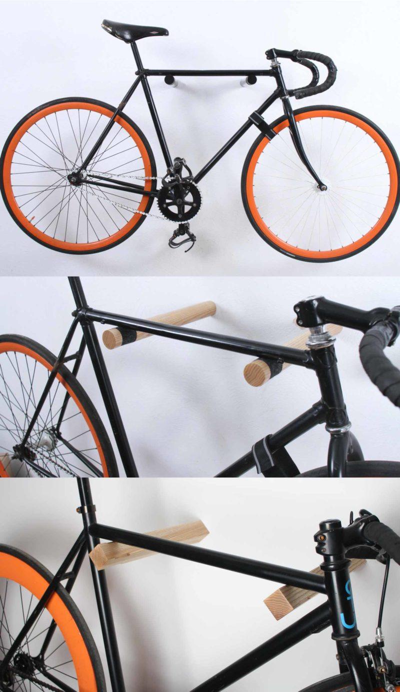 Porte vélo mural minimaliste tiges de bois
