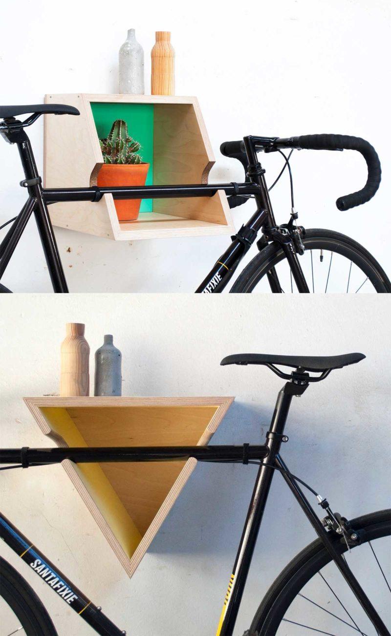Support vélo mural original en bois