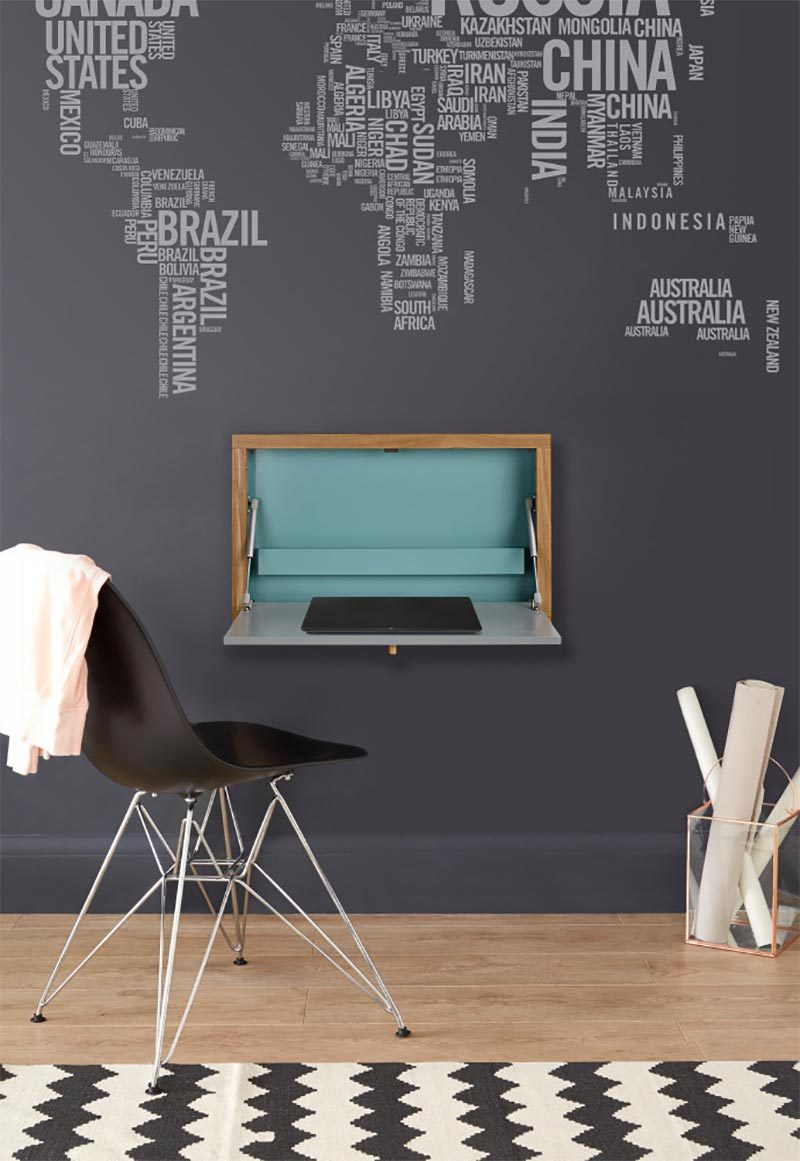 bureau mural rabattable 14 id es d co pour gagner de la place. Black Bedroom Furniture Sets. Home Design Ideas