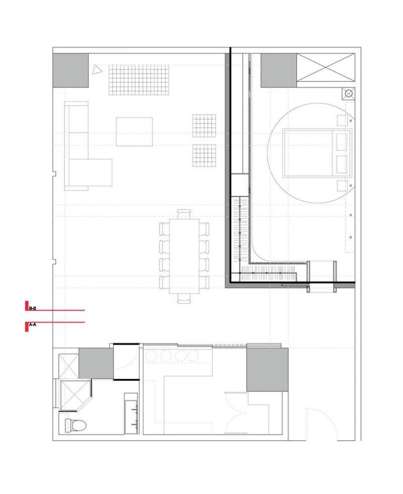 Plan du loft avec une seule chambre