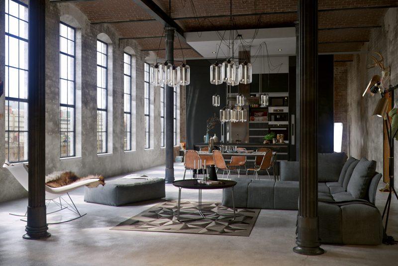 Loft indusriel avec poteaux en 3D