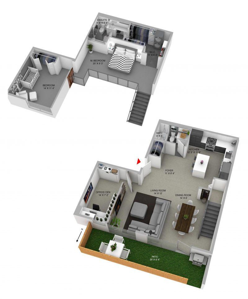 Plan du loft en duplex