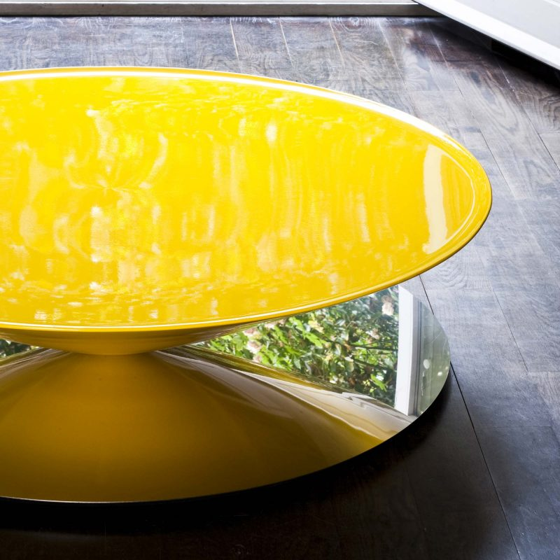Table basse ronde jaune