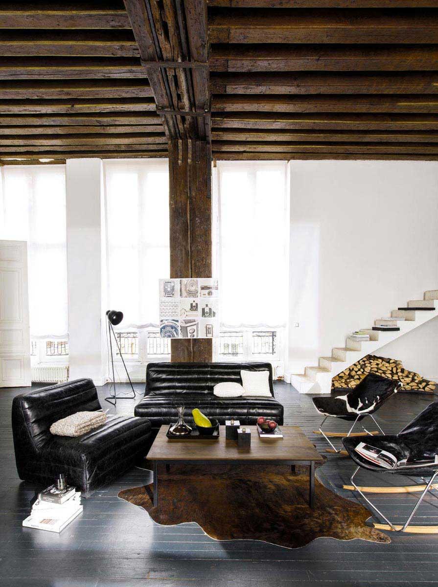 fauteuil bascule en tissu noir et blanc. Black Bedroom Furniture Sets. Home Design Ideas