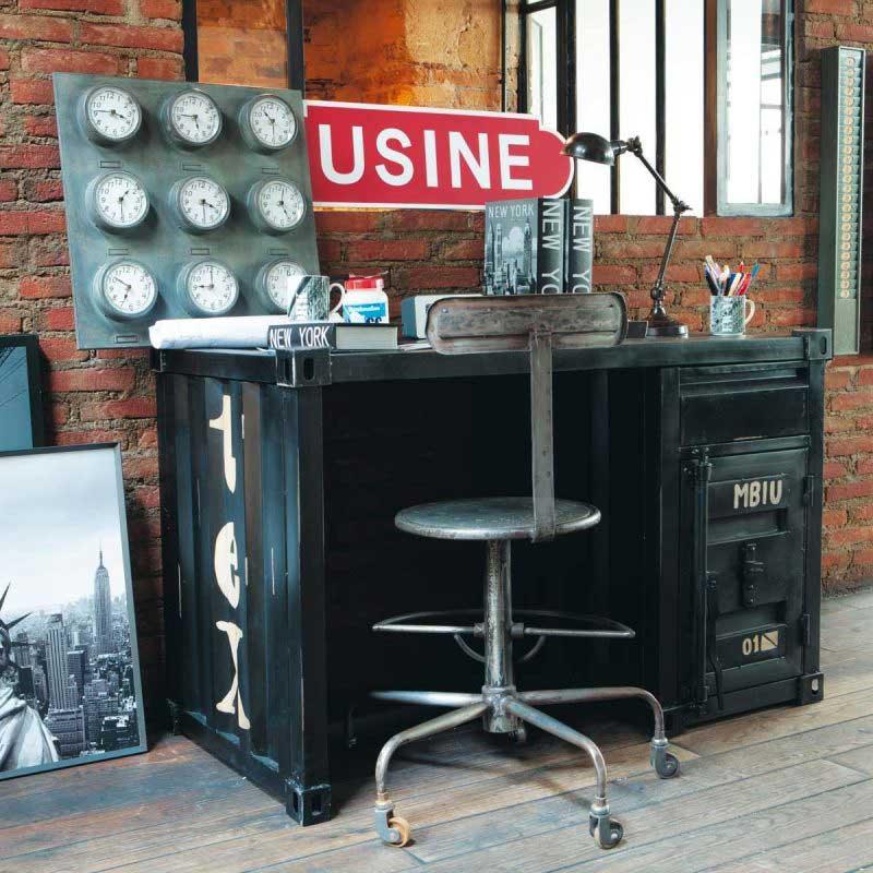 Bureau container en métal noir