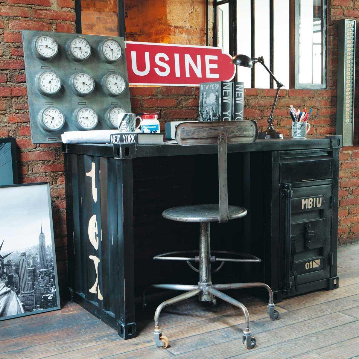 bureau container en m tal noir. Black Bedroom Furniture Sets. Home Design Ideas