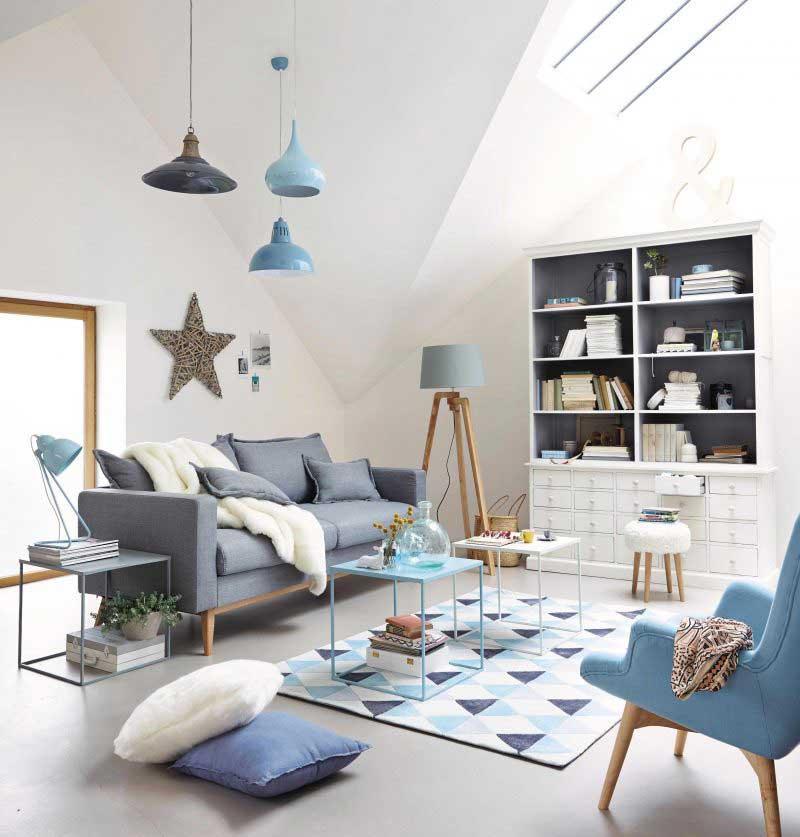 Table basse en métal bleue