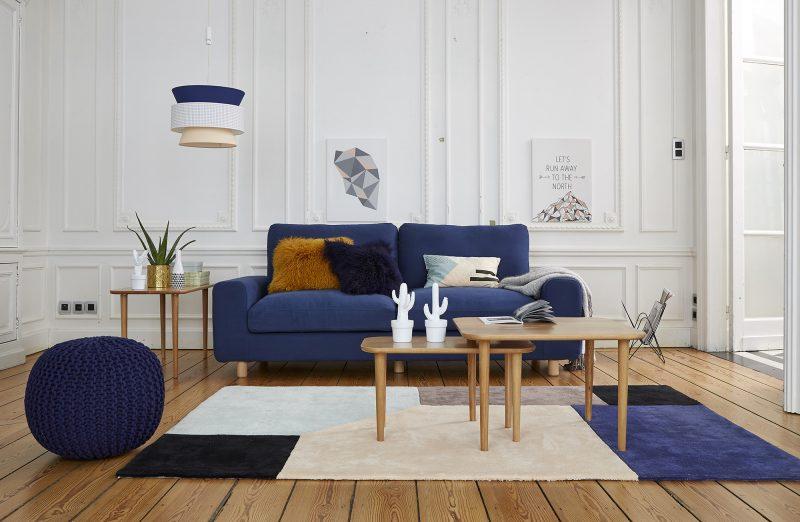 Salon avec tapis graphique par La Redoute