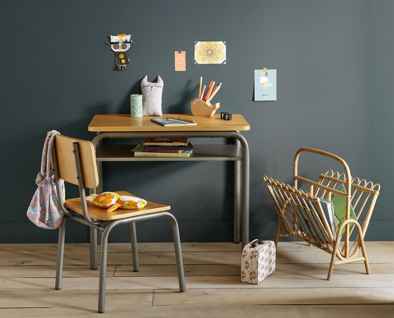 Bureau et chaise d'écolier vintage par La Redoute