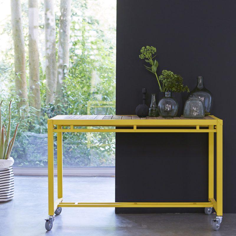 Console Karpenter en métal jaune