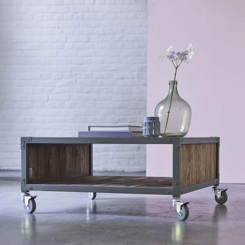 Table basse Karpenter en métal et bois