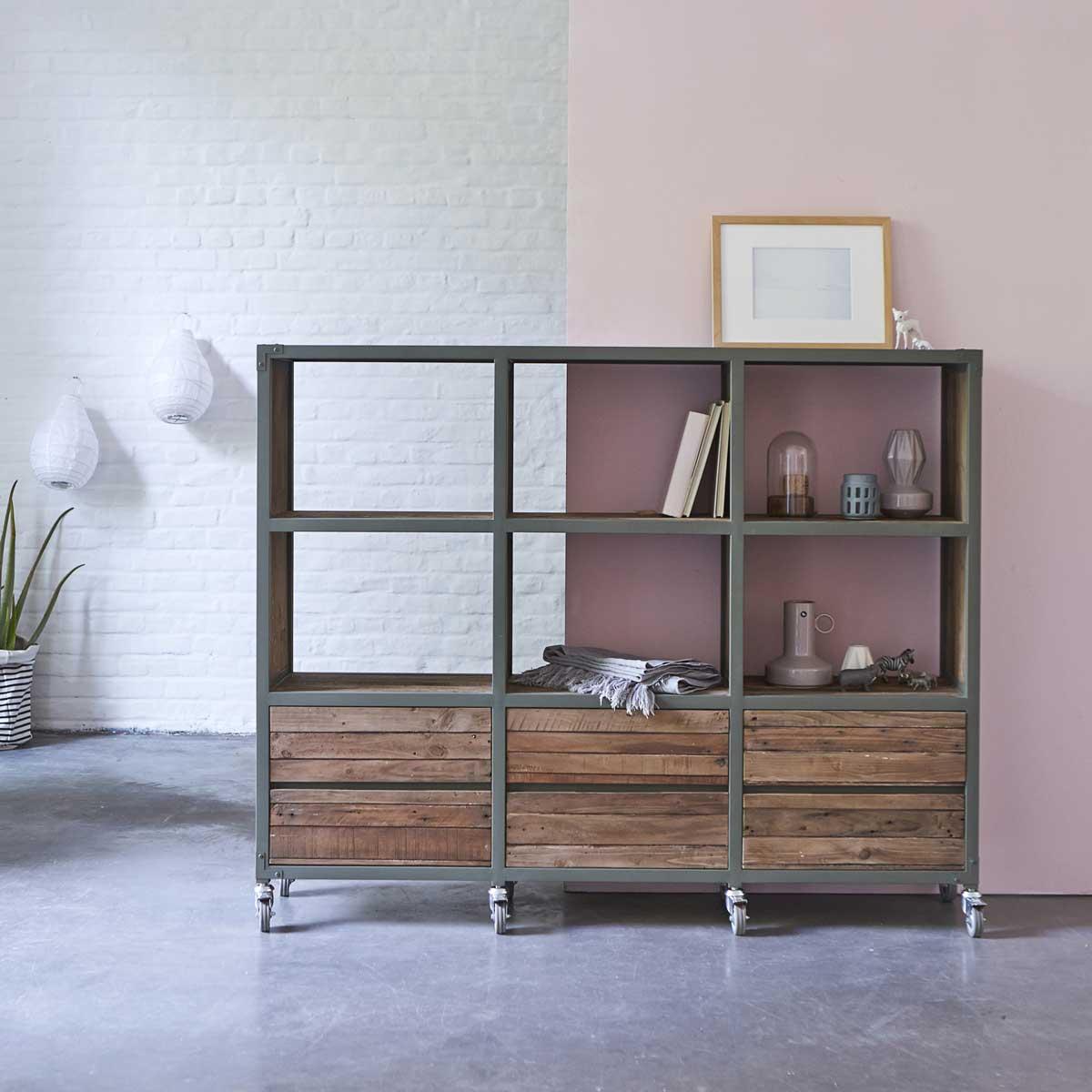 Biblioth que karpenter en m tal gris et en bois - Bibliotheque bois metal ...