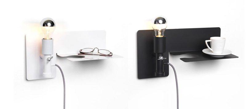 Table de nuit applique avec lampe intégrée