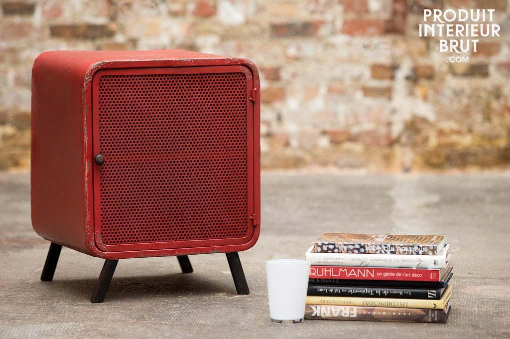 chevet industriel en m tal rouge. Black Bedroom Furniture Sets. Home Design Ideas