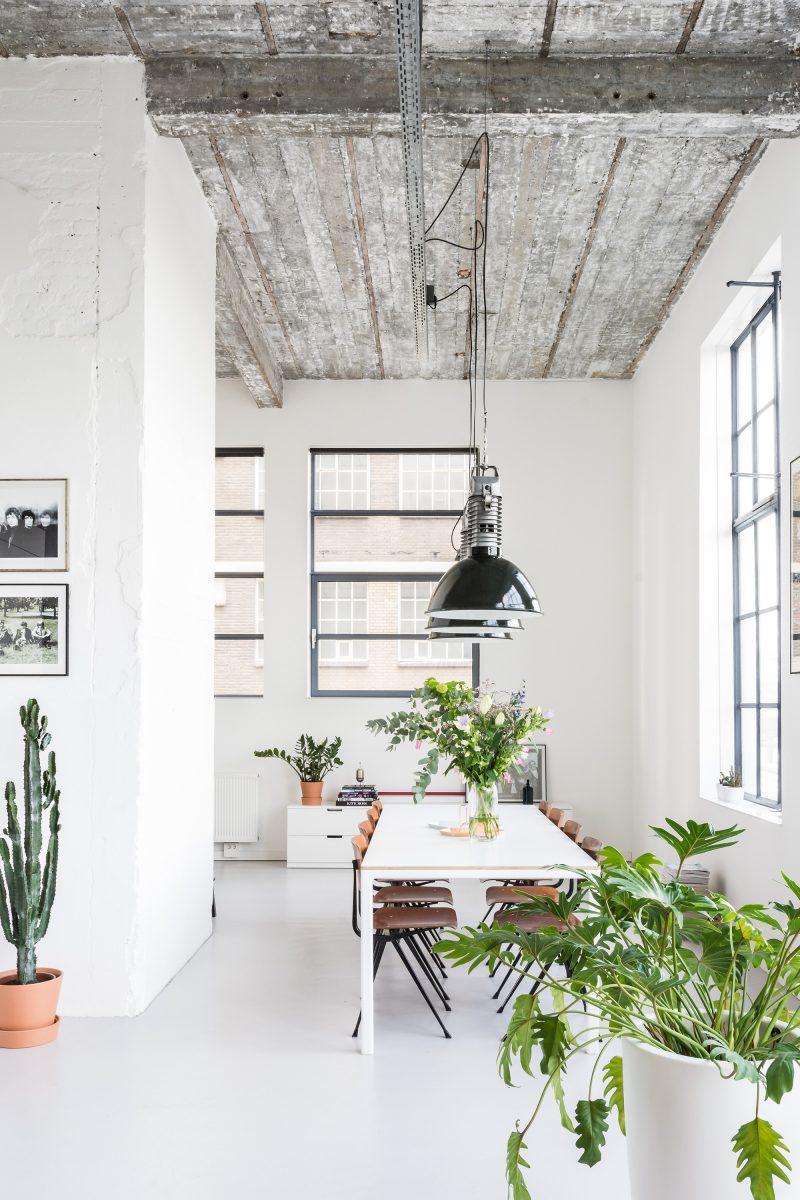 Loft industriel avec plafond en béton