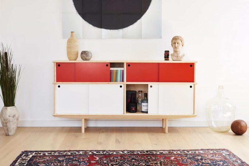 Buffet modulaire en bois brut