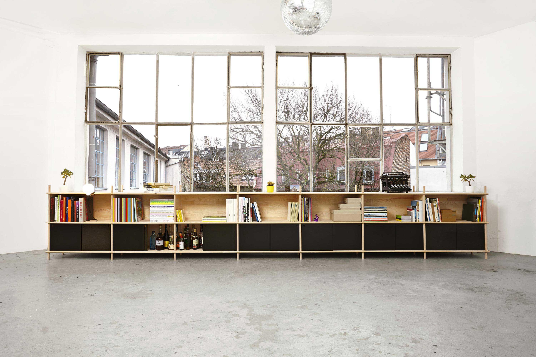 Bibliothèque basse en bois brut
