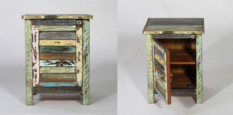 Table de chevet en bois recylé