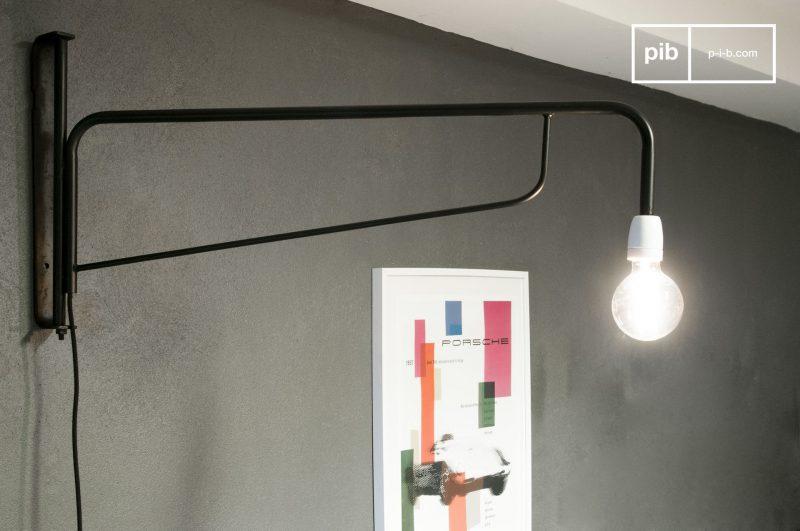 Lampe applique potence en métal
