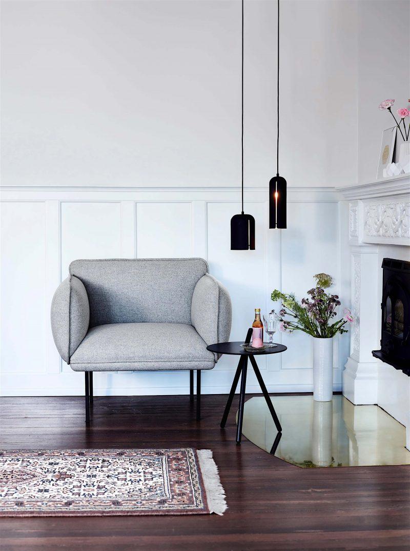 Fauteuil design gris Woud