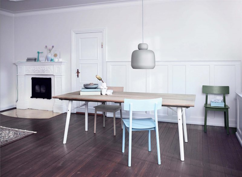 Table bois pieds blanc Woud
