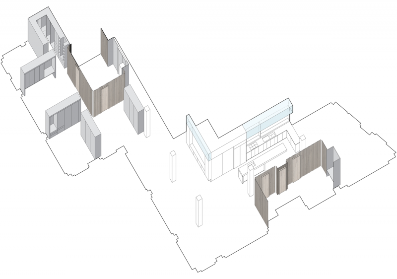 Plan d'un loft en L