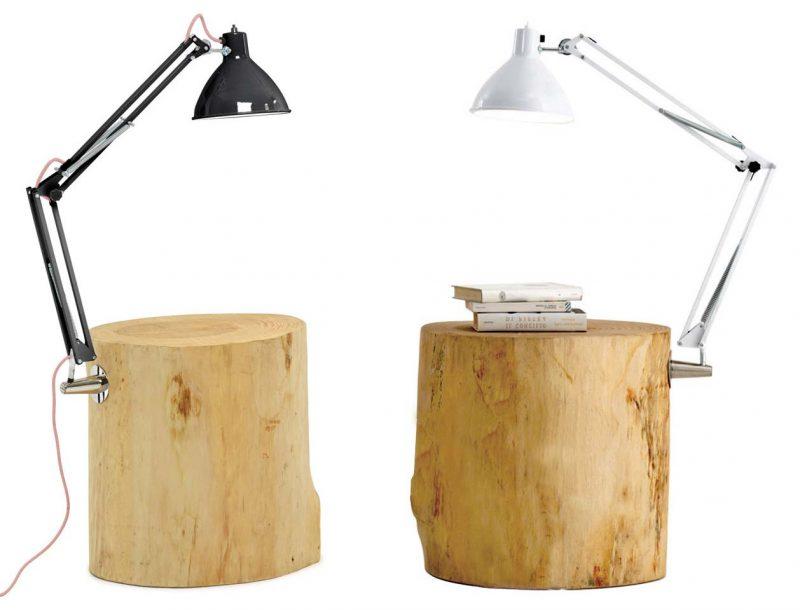 Table de chevet tronc d'arbre avec lampe