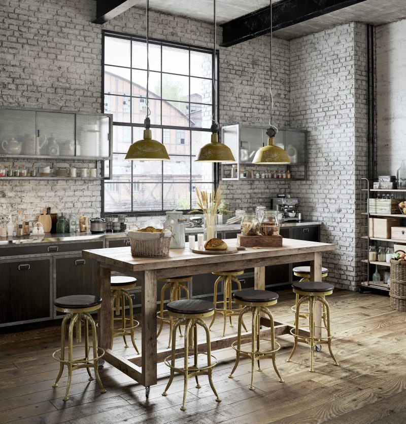 Car Garage Loft Retro Style: Cuisine Industrielle En 3D
