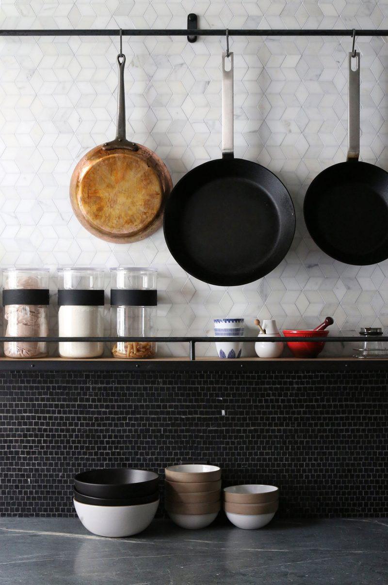 Plan de travail de cuisine noir