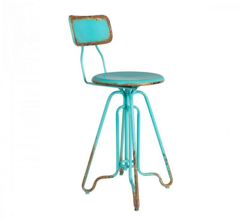 Chaise de bar vintage en métal turquoise