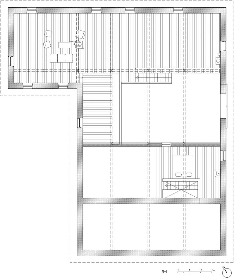 Plan du loft dans une ancienne ferme