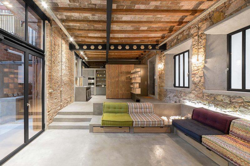 Salon plus bas pour délimiter l'espace