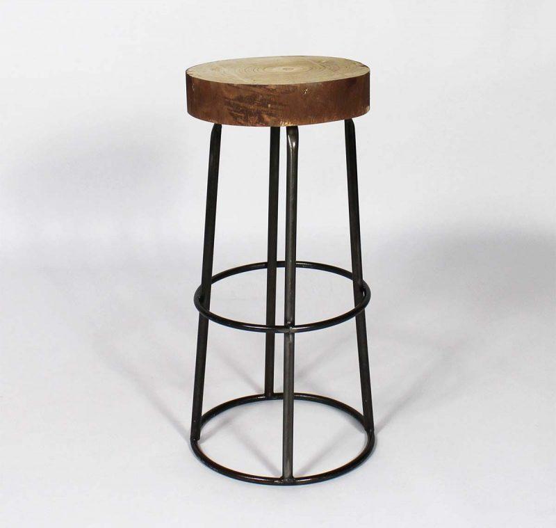 Tabouret de bar avec assise tronc d'arbre