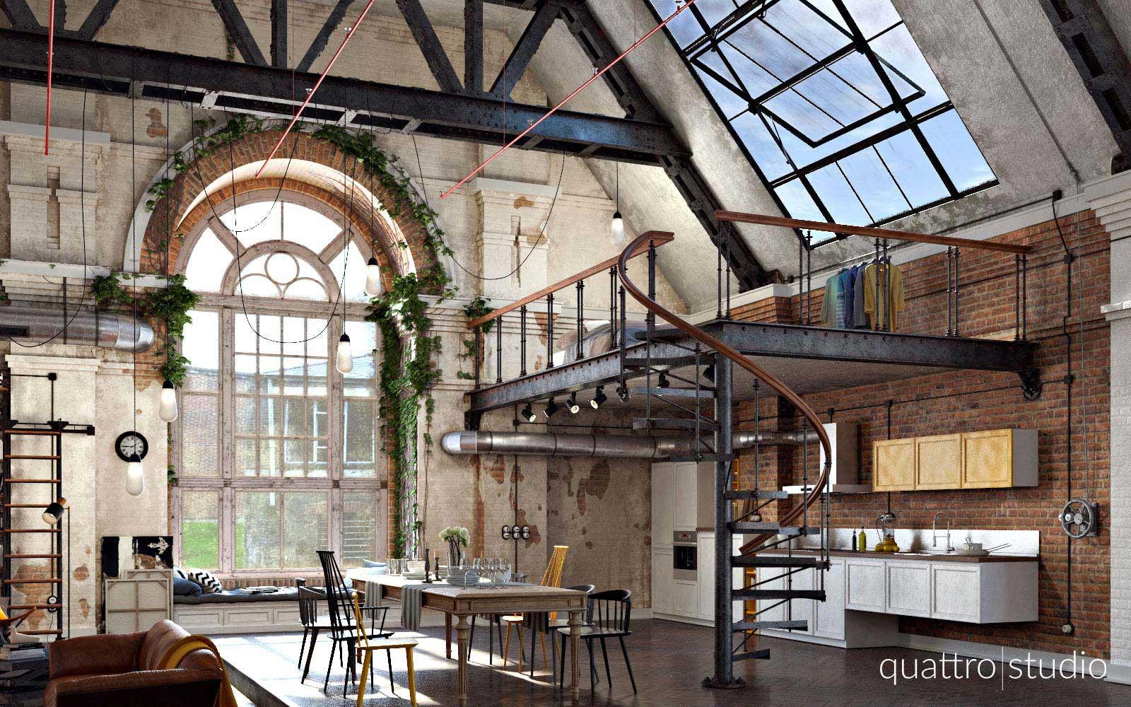 loft industriel dans une ancienne usine textile. Black Bedroom Furniture Sets. Home Design Ideas