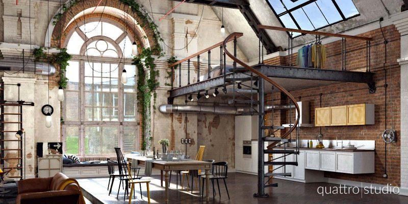 loft industriel en 3d par quattro studio. Black Bedroom Furniture Sets. Home Design Ideas