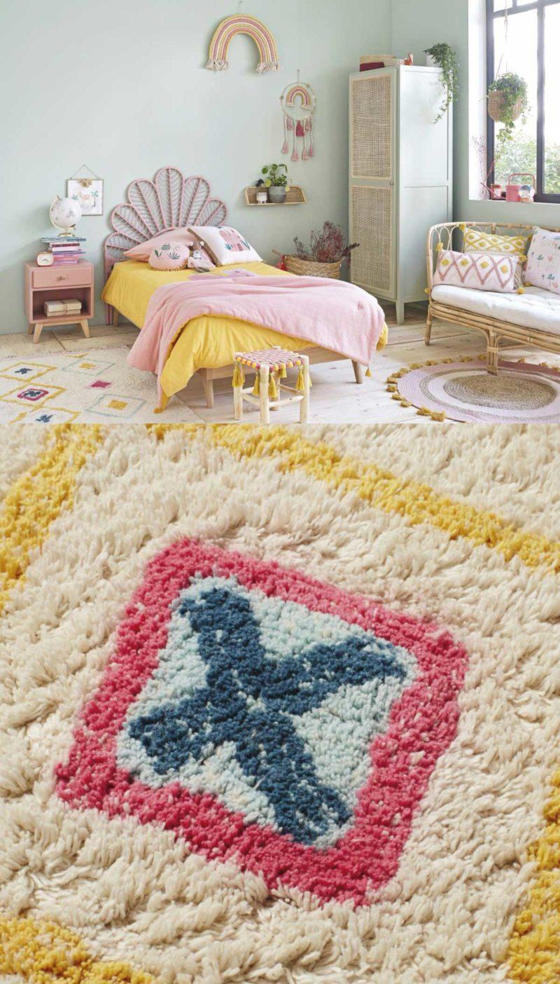 Tapis berbère coloré dans une chambre d'enfant