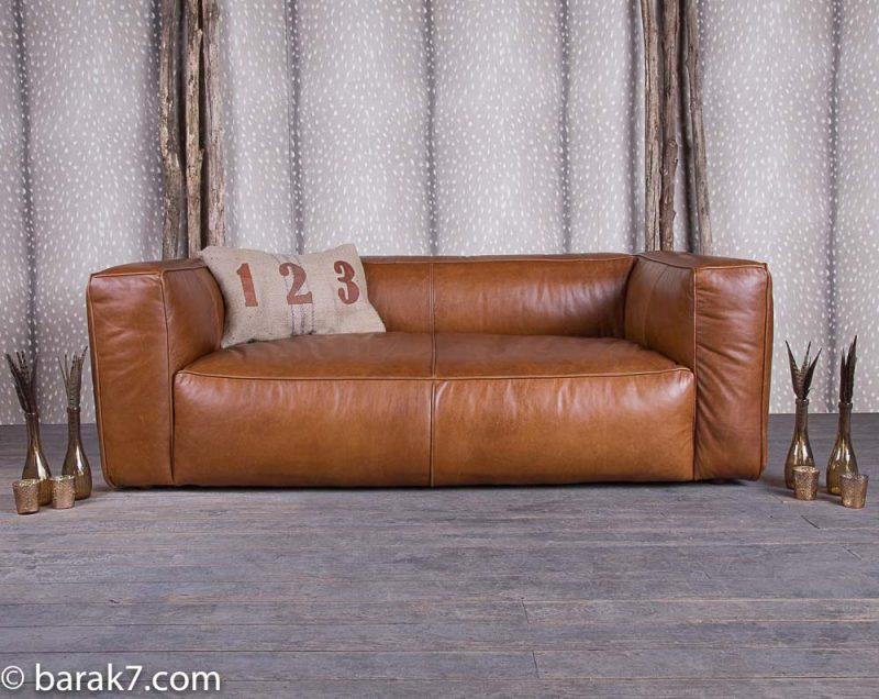Canape en cuir marron sans pieds