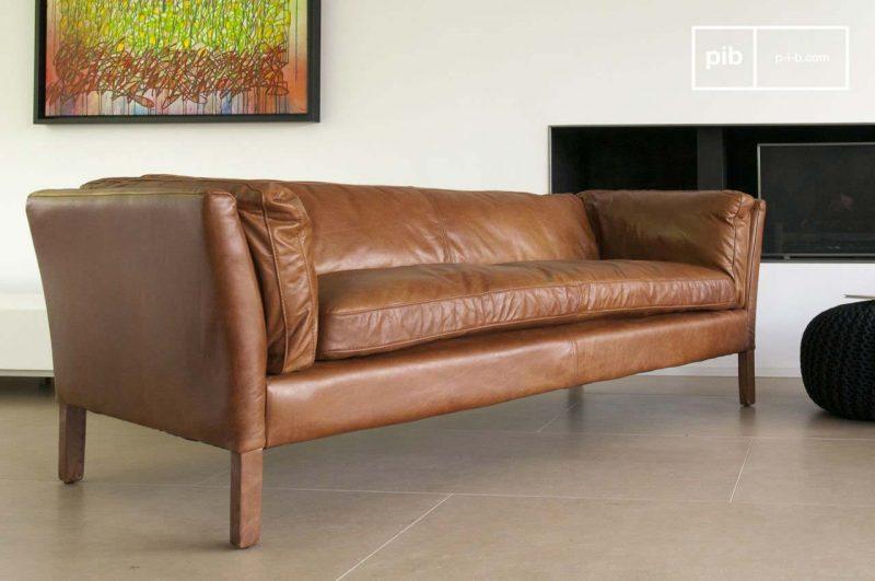Canape en cuir marron vintage 3 places
