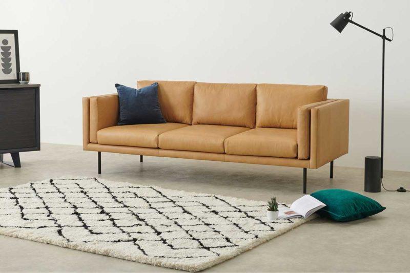 Canapé moderne en cuir marron