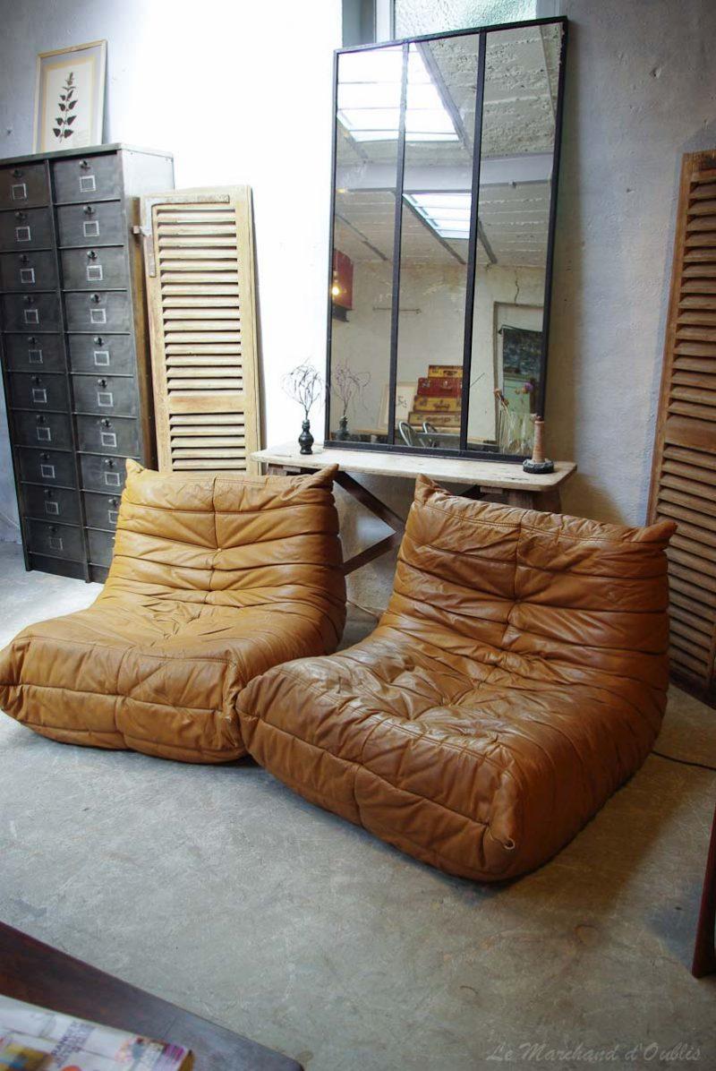 Canapé Togo en cuir marron vintage