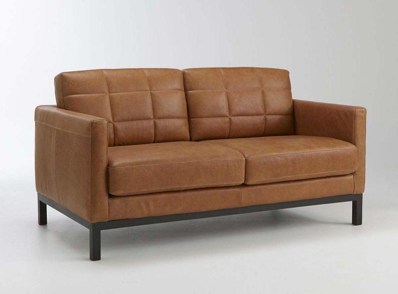 Canapé vintage en cuir marron La Redoute